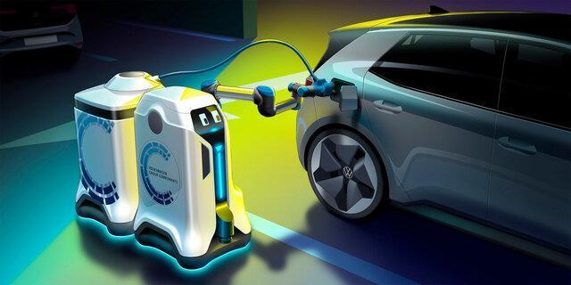 ربات های شارژری که به دنبال خودروهای برقی می فرایند